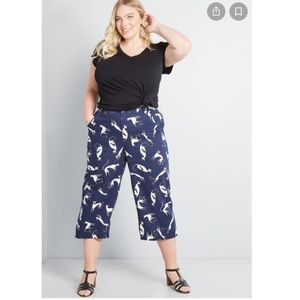 NWT ModCloth All In Cropped Wide Leg Cat Pants